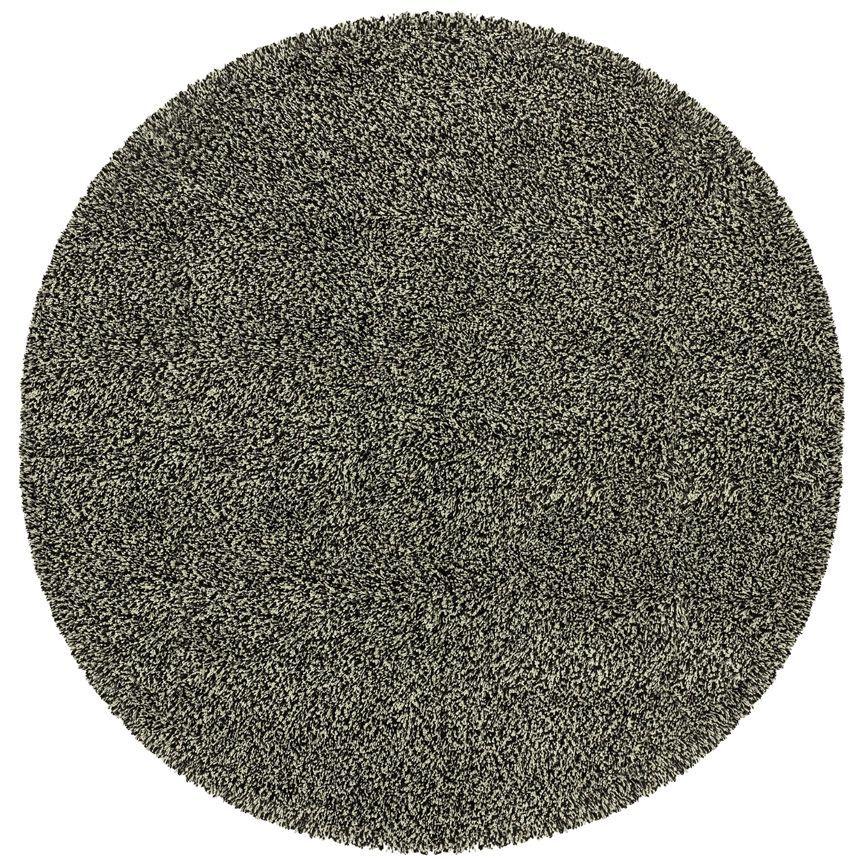 Mazon Tweed Black/Ivory Area Rug Rug Size: Round 6'