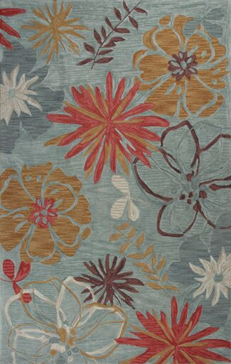 Lager Head Ocean Wildflowers Blue Area Rug Rug Size: Round 5'6