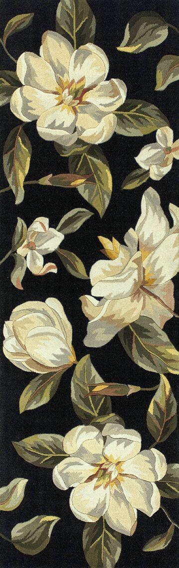 Las Cazuela Black Magnolia Area Rug Rug Size: Runner 2'6