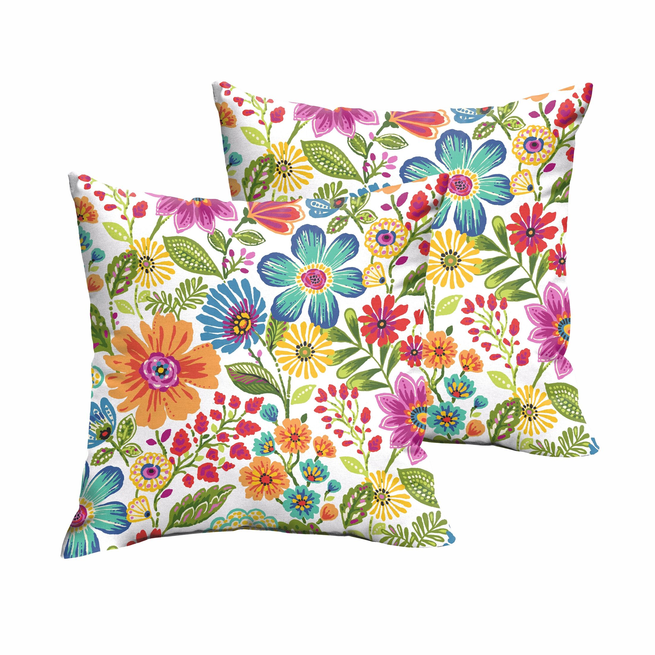 Paxton Floral Indoor/Outdoor Throw Pillow Size: 18