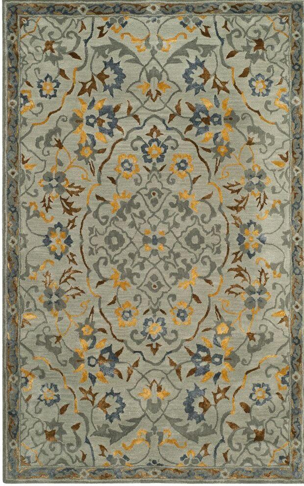 Hodgson Hand-Tufted Gray/Gold Area Rug Rug Size: Rectangle 4' x 6'