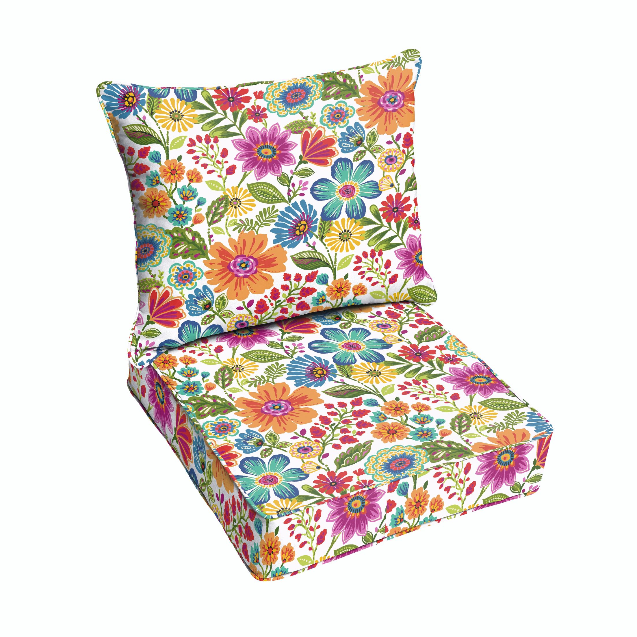 Paxton Floral Piped Indoor/Outdoor Lounge Chair Cushion