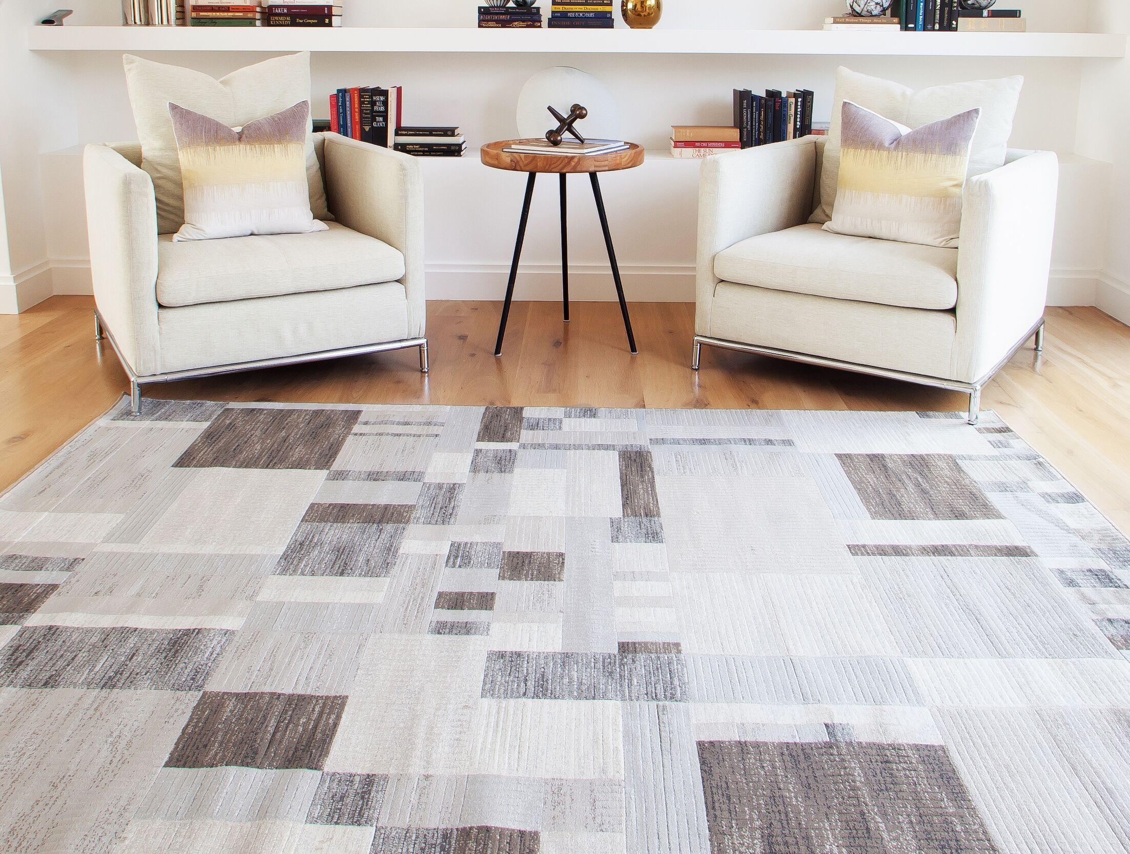Glencoe Charcoal/Ivory/Grey Area Rug Rug Size: 7'10