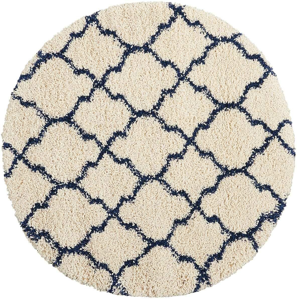 Linton Ivory/Blue Area Rug Rug Size: Round 6'7