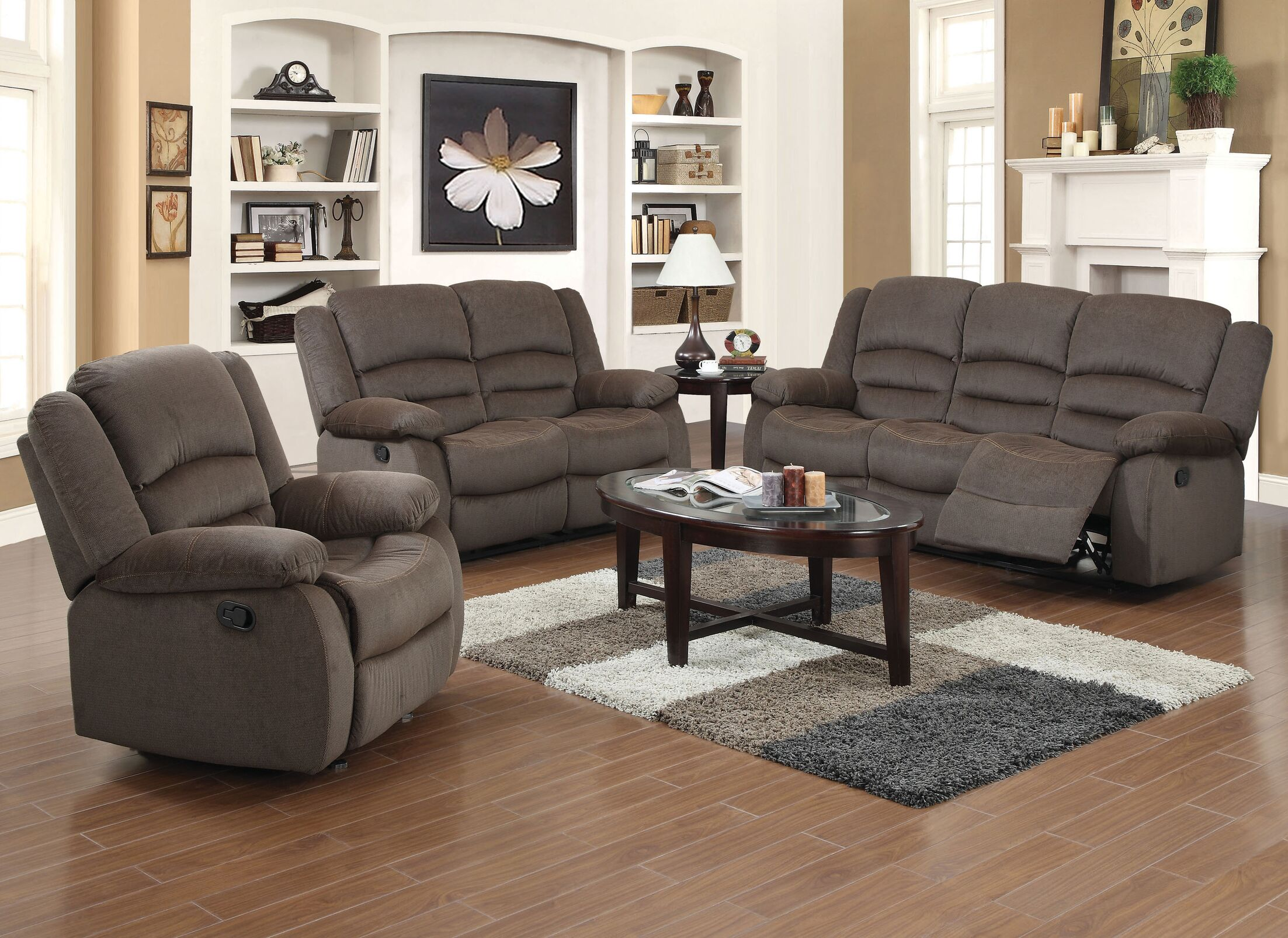 Maxine Reclining 3 Piece Living Room Set Upholstery: Brown