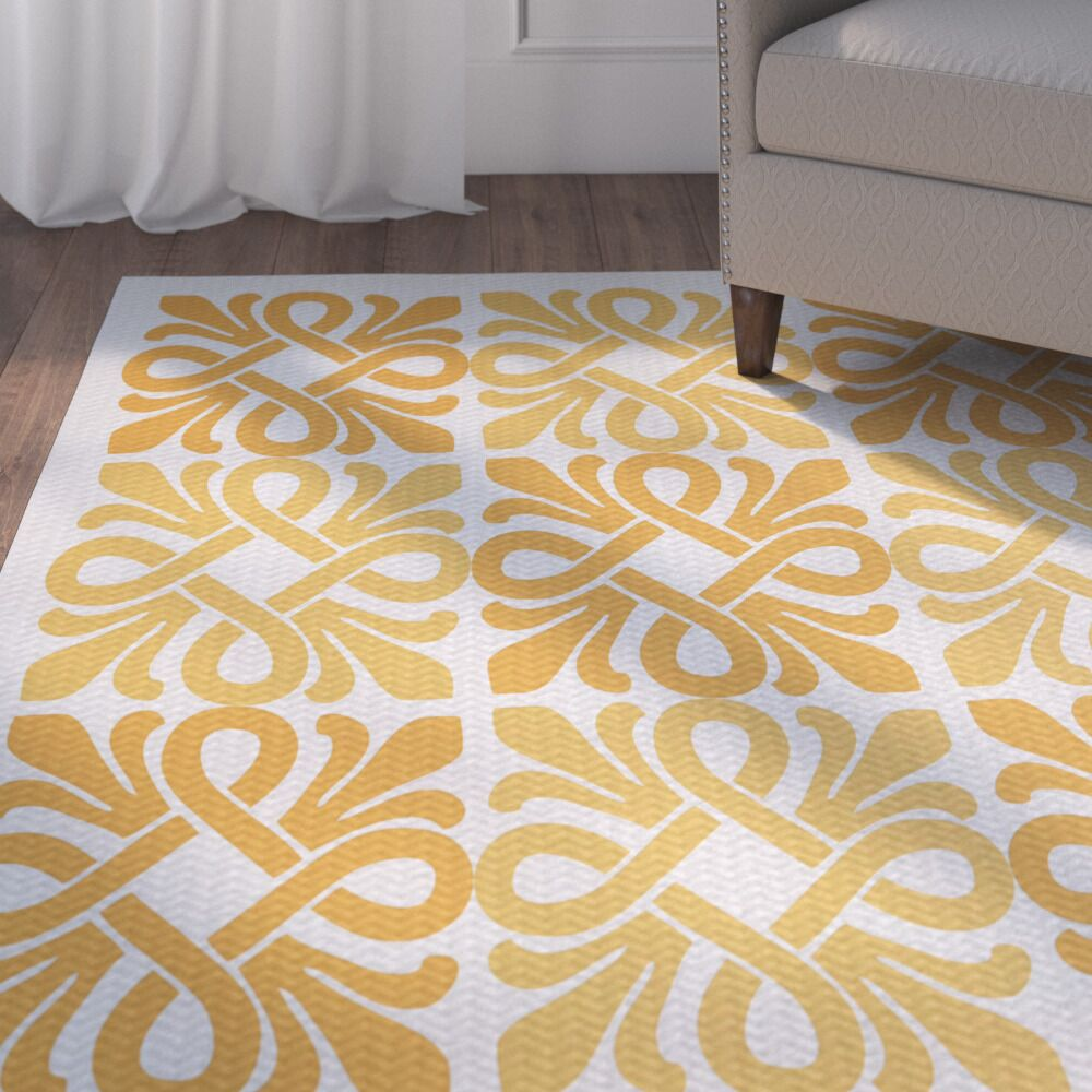 Temple Terrace Yellow/White Indoor/Outdoor Area Rug Rug Size: 3' x 5'
