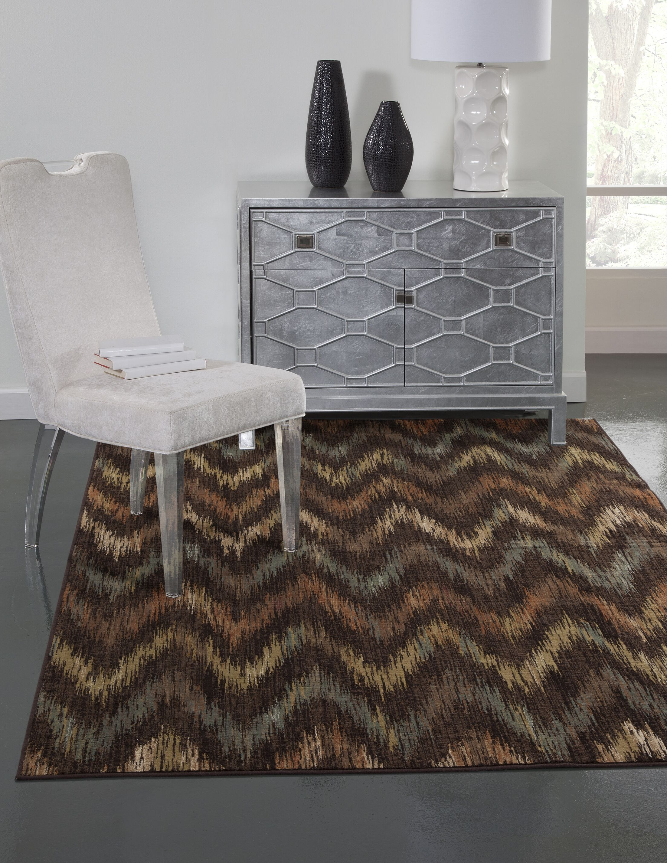 Glencoe Chocolate/Rust/Tan/Aqua Area Rug Rug Size: 5'3