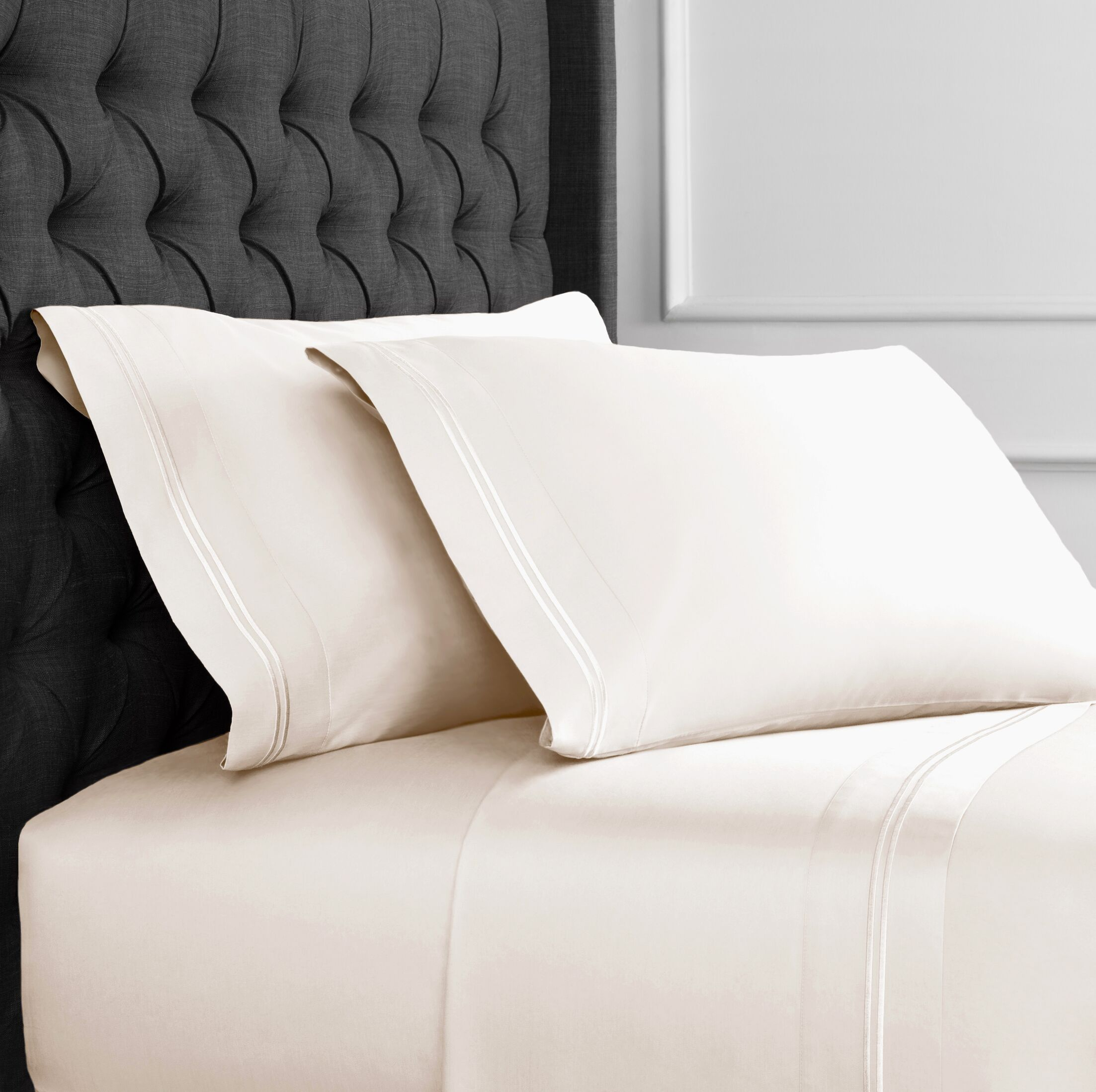 Crose Border Embroidered 600 Thread Count 100% Cotton Sheet Set Size: Twin, Color: Ivory