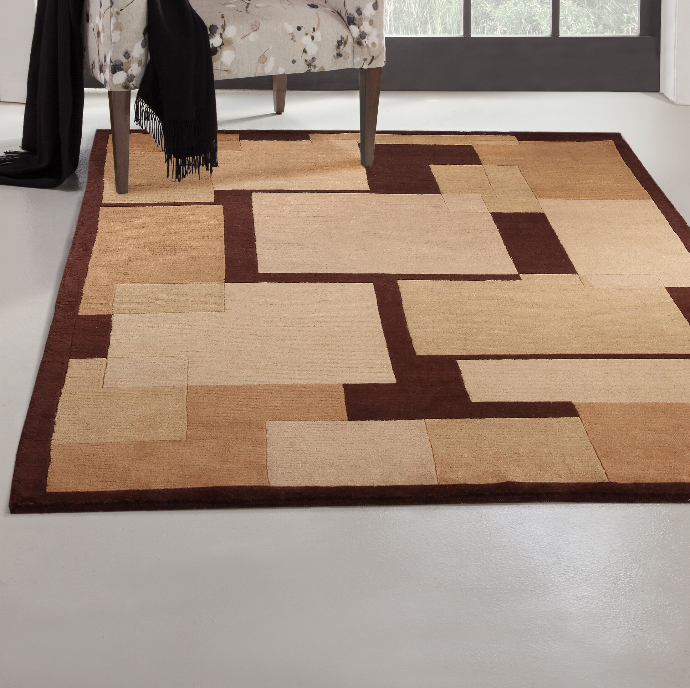 Mystic Hand-Knotted Brown Area Rug Rug Size: 5' x 8'