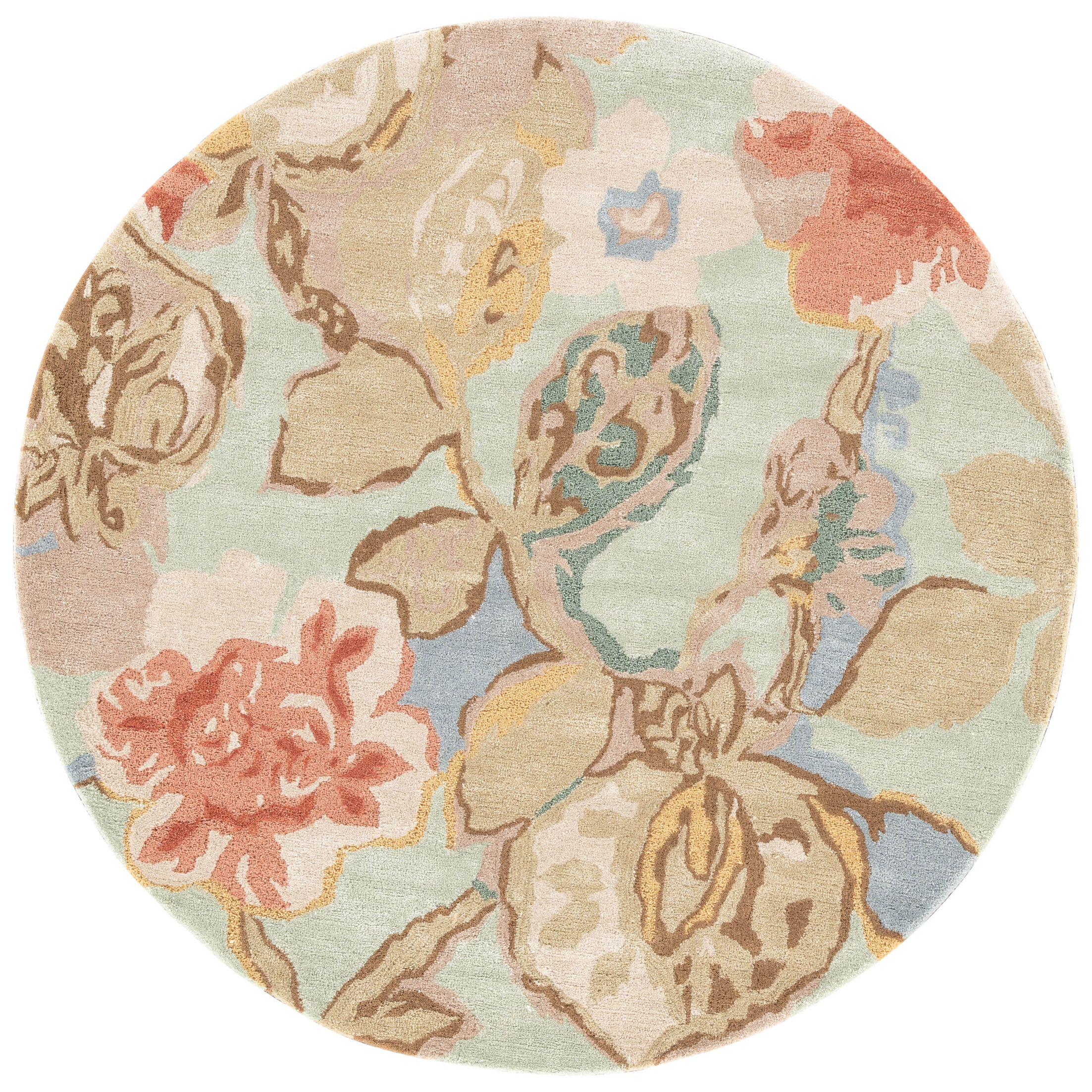 Willette Aqua Foam Floral Area Rug Rug Size: Round 8'