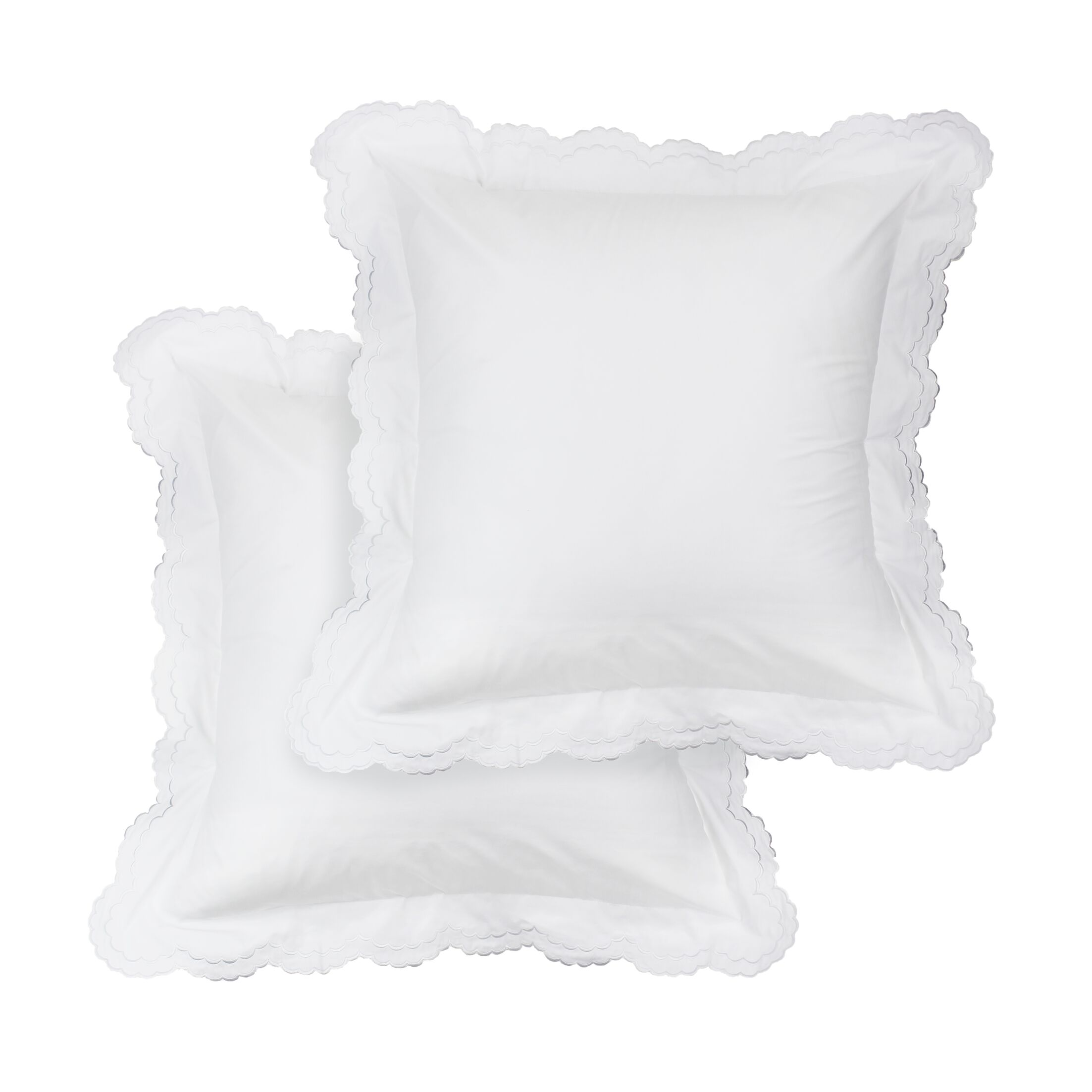 Crosstown Percale Cotton Double Scallop Embroidered Sham Color: White