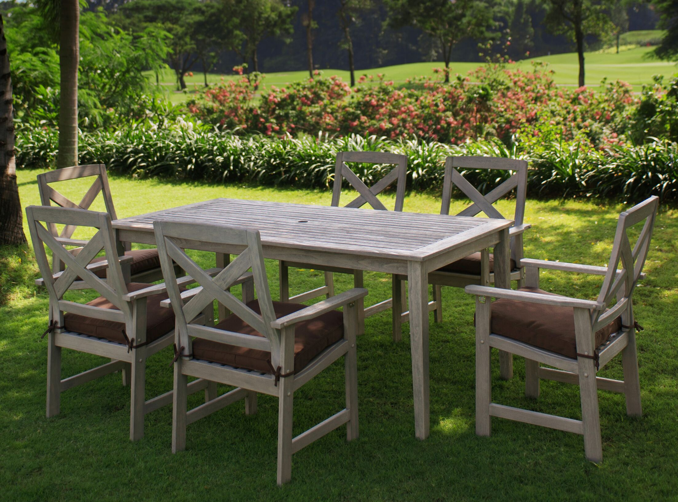 Englewood 7 Piece Dining Set Cushion Color: Cappucino