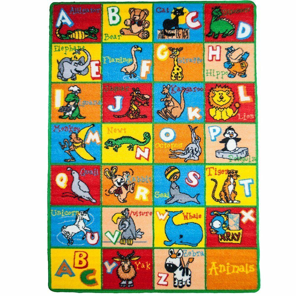 Kids Animal Blue/Red Area Rug