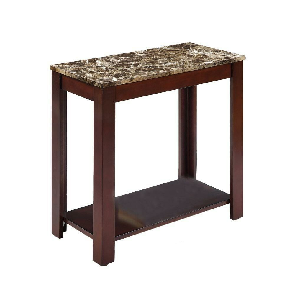 Britten Contemporary Marble Veneer End Table with Storage