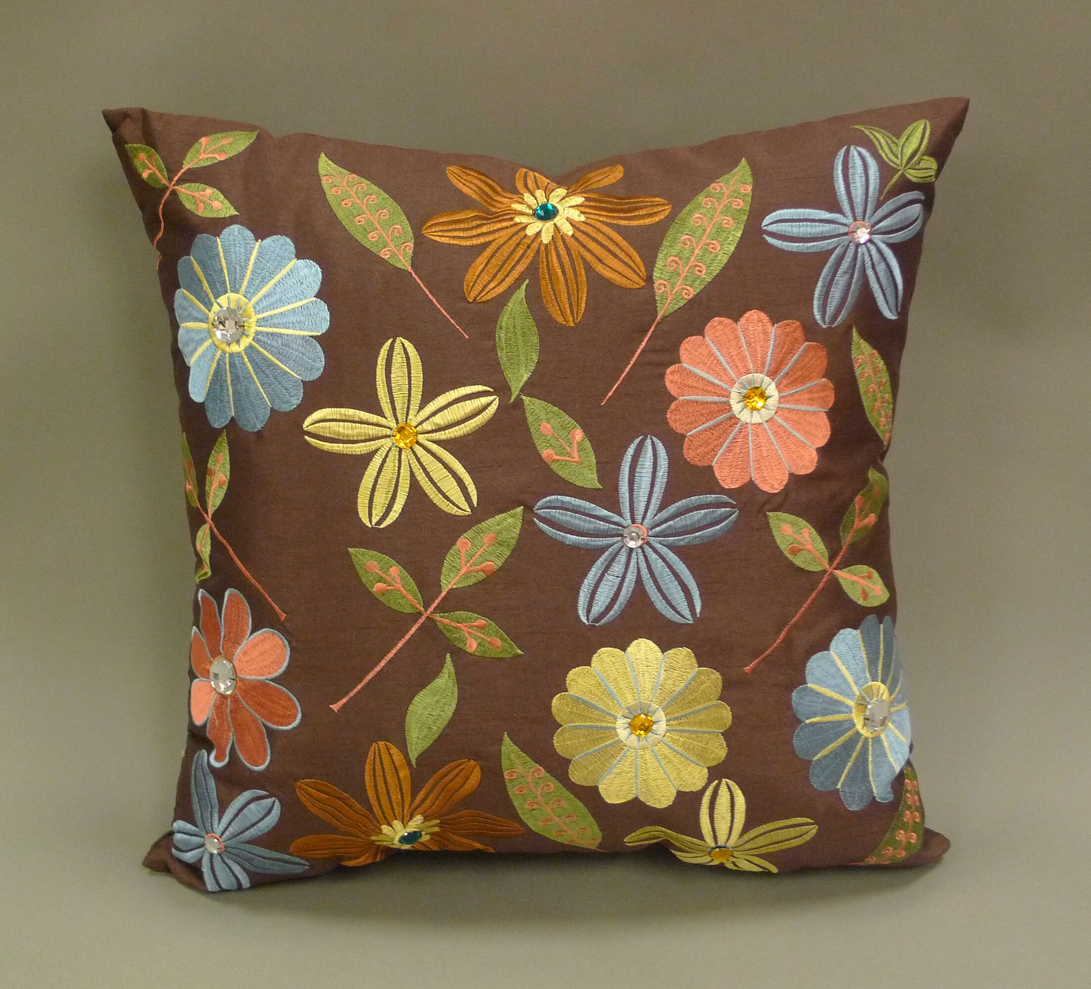 Milena Embroidered Jewel Toss Throw Pillow Color: Chocolate