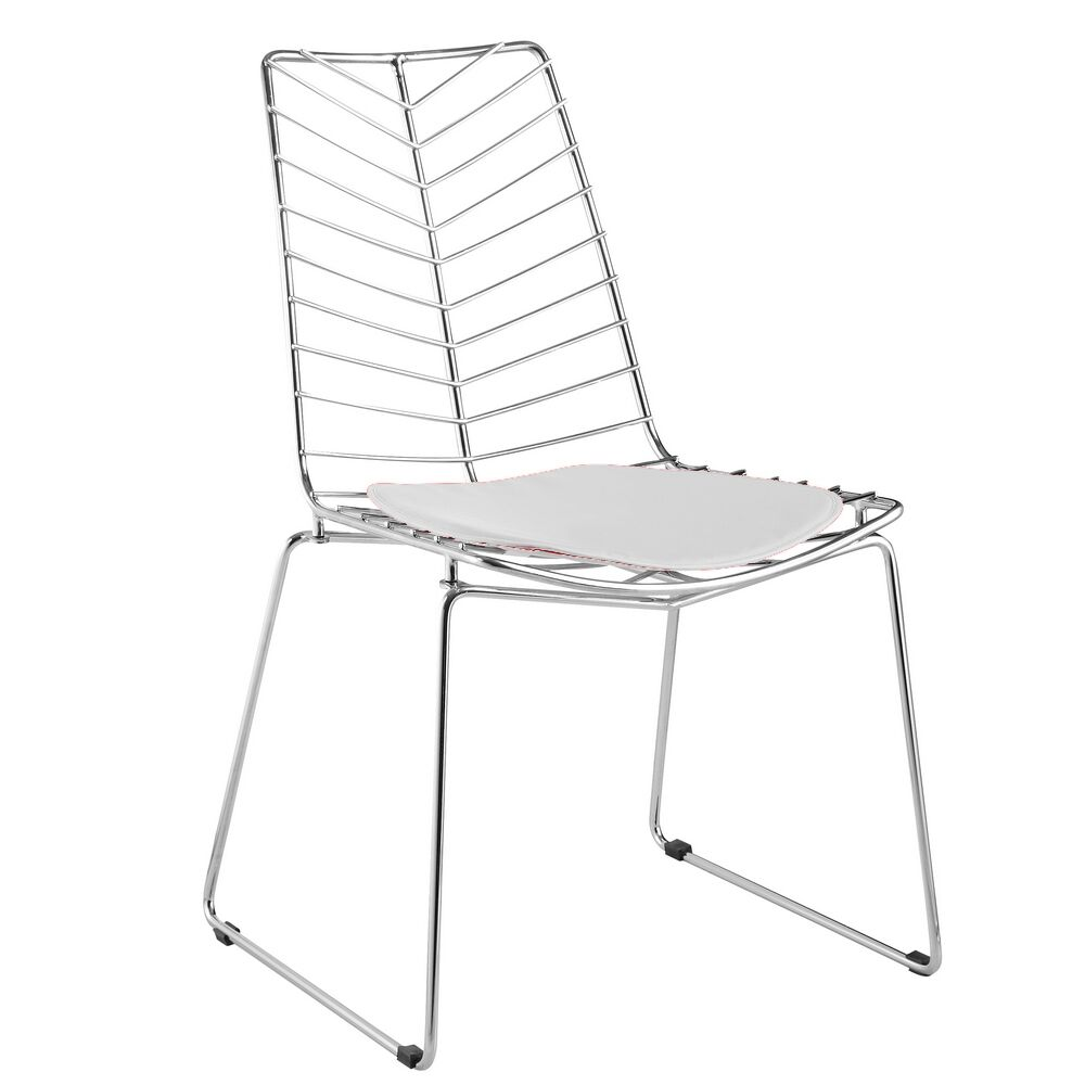 Wire Leaf Side Chair Upholstery: White