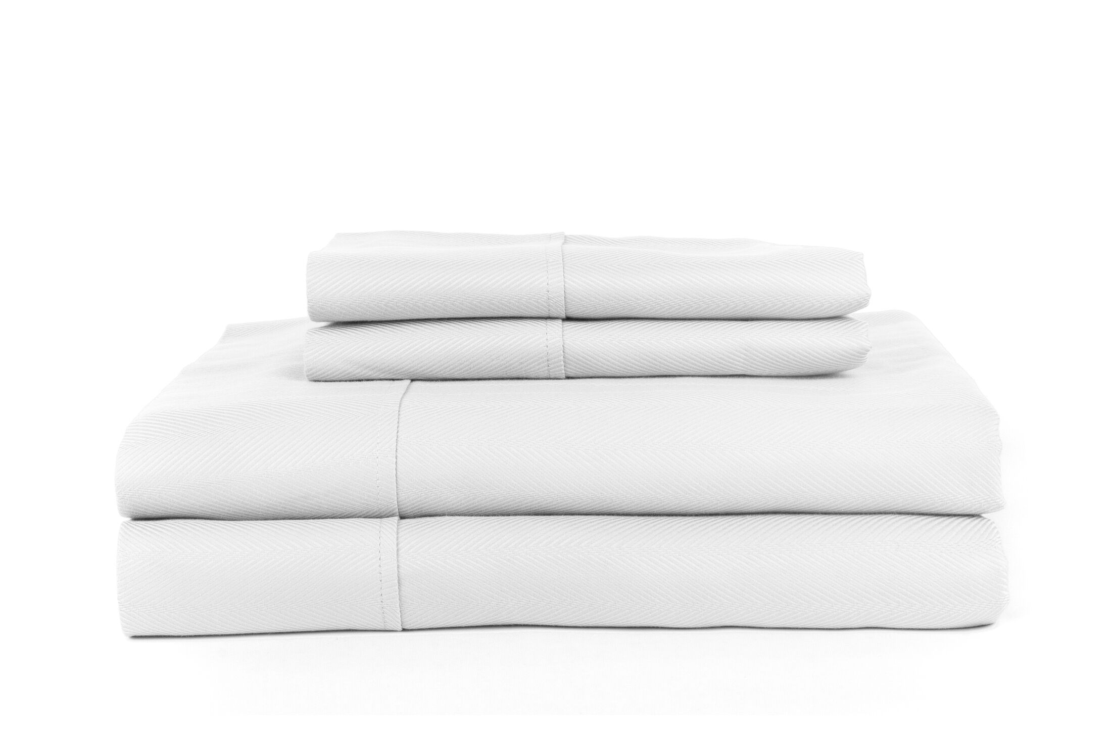 Knightsbridge 600 Thread Count Egyptian Quality Cotton Jacquard Herringbone Sheet Set Color: White, Size: King