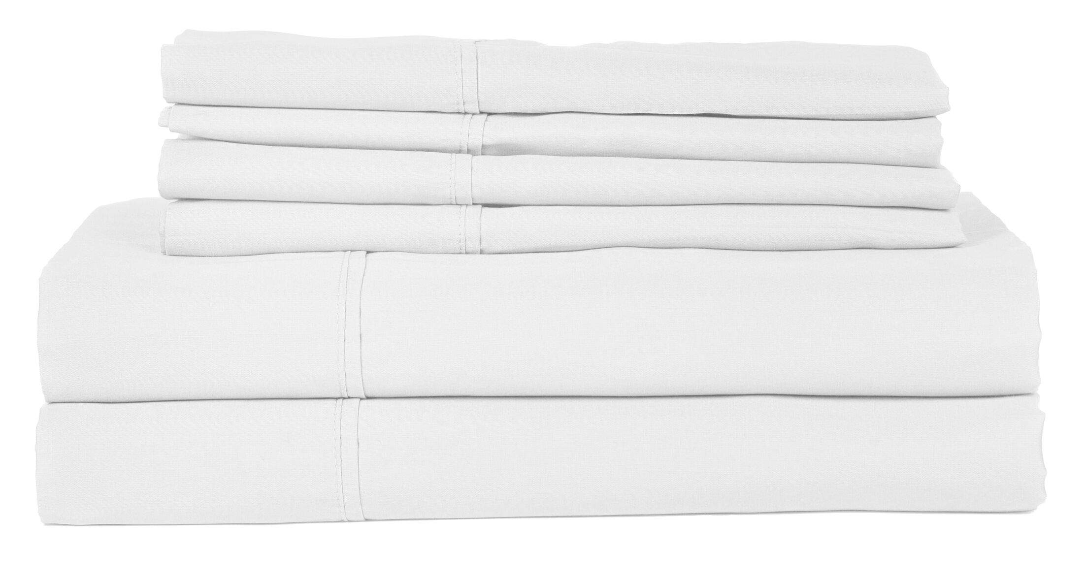 Perthshire Platinum 6 Piece 410 Thread Count Egyptian Quality Cotton Sheet Set Size: Queen, Color: White
