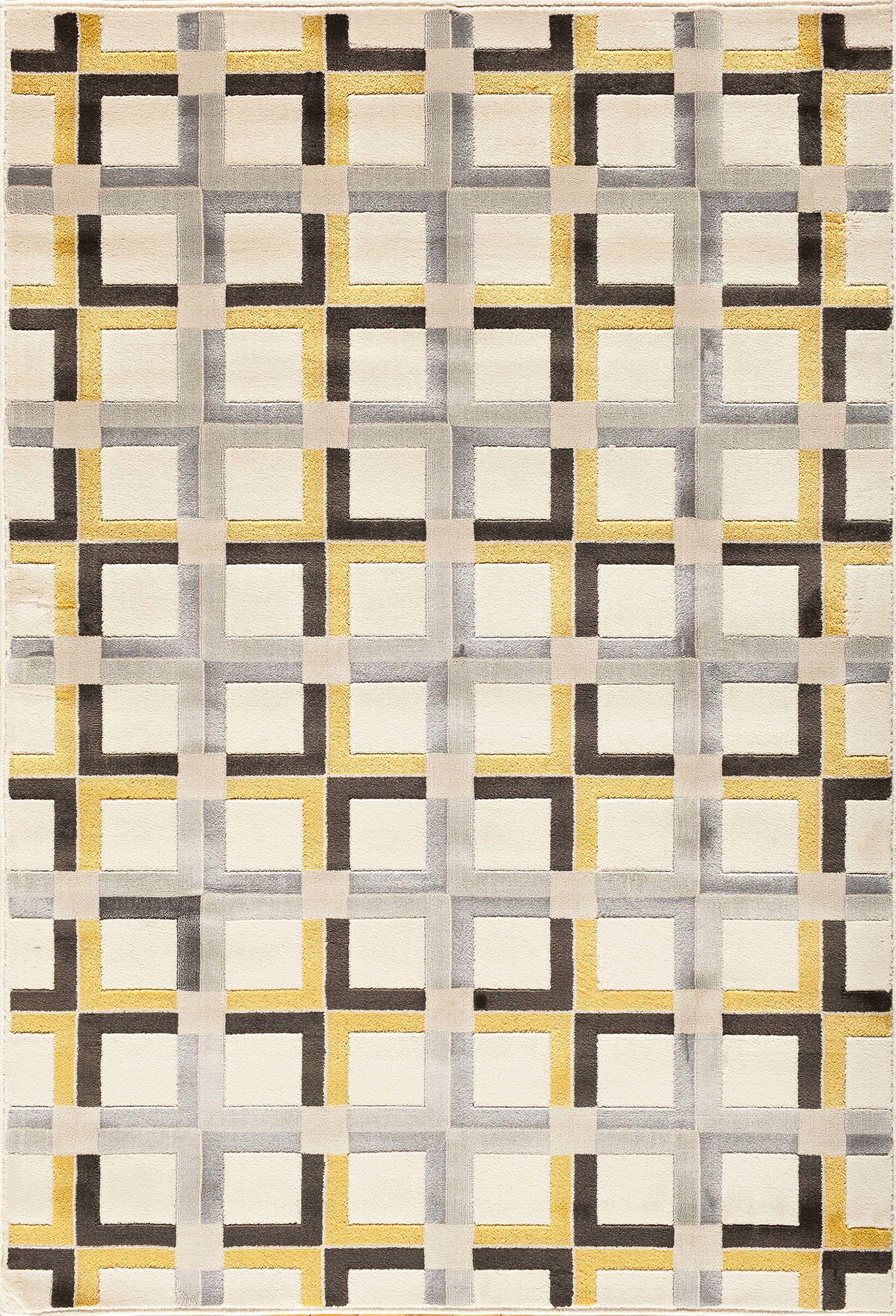 Suffolk Grey/Yellow Area Rug Rug Size: Rectangle 5' x 7'6