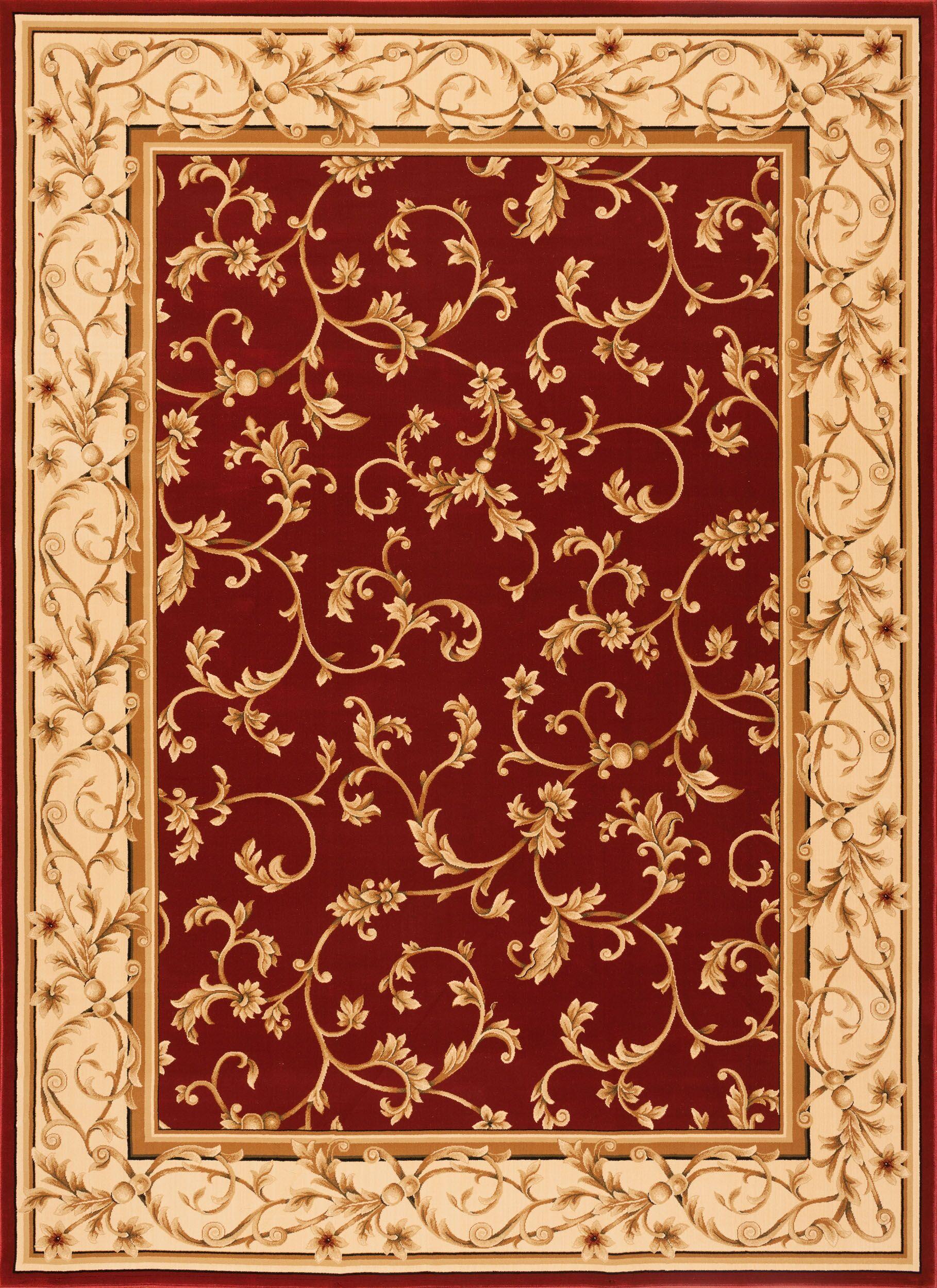 Chellsie Crimson/Wheat Area Rug Rug Size: Round 7'7