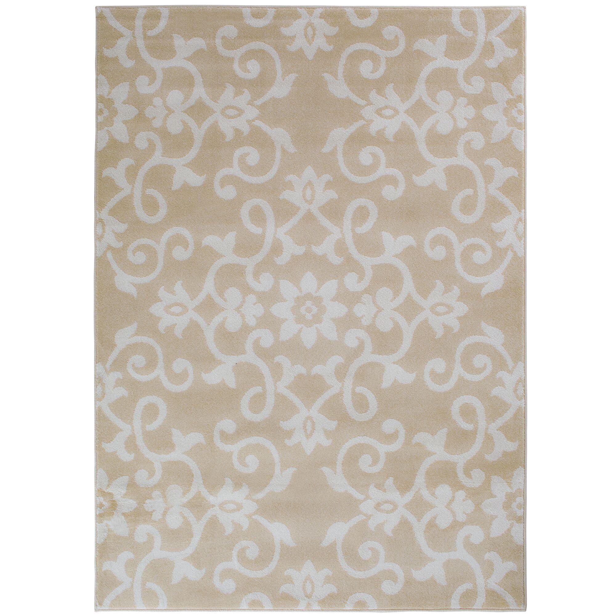 Eibhlin Snow/Buff Beige/Cream Area Rug Rug Size: Rectangle 5'3