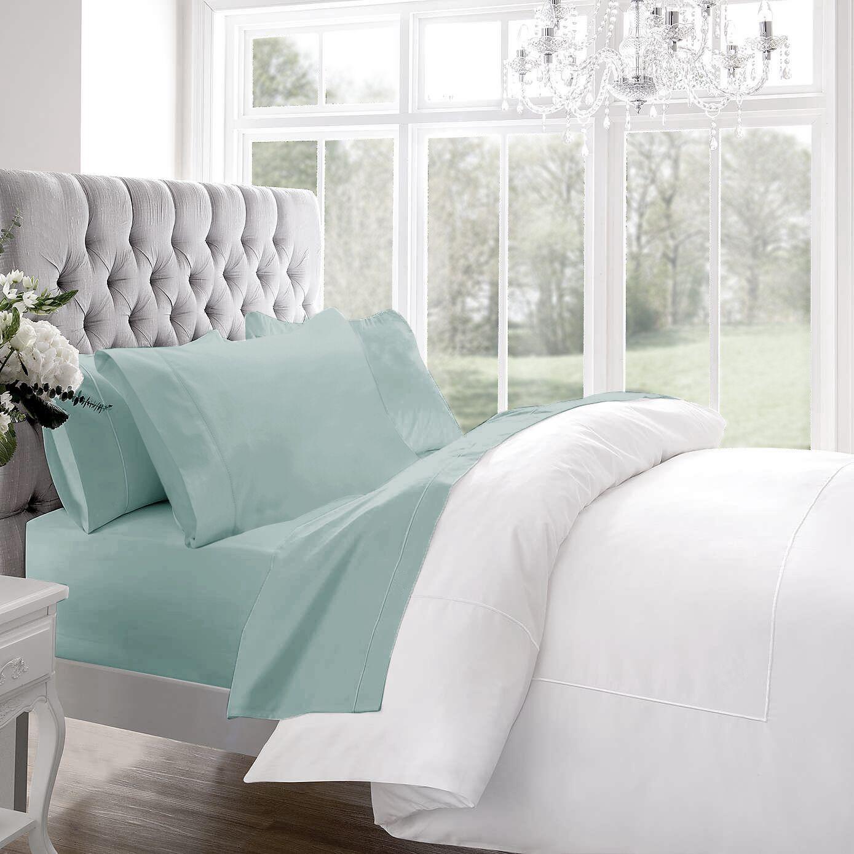 Blanc De Blancs 1200 Thread Count Sheet Set Size: King, Color: Aqua
