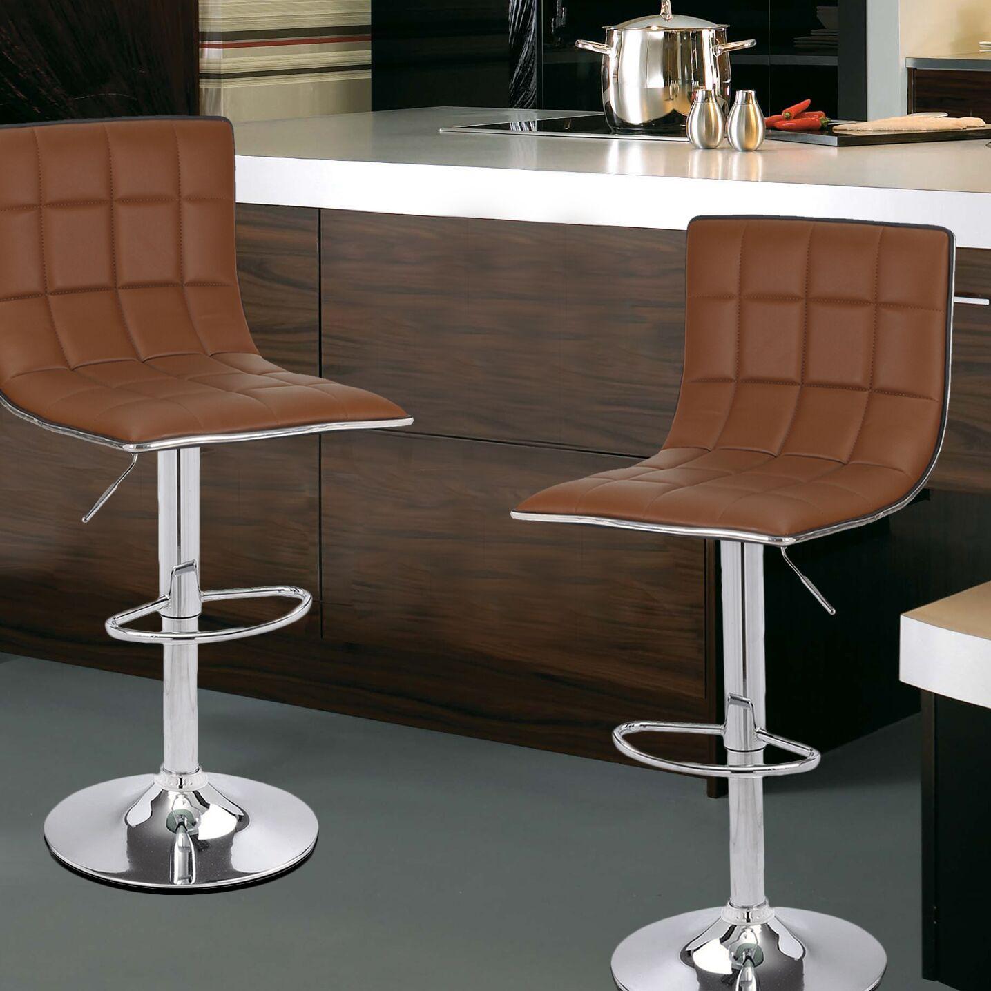 Adjustable Height Swivel Bar Stool Upholstery: Coffee