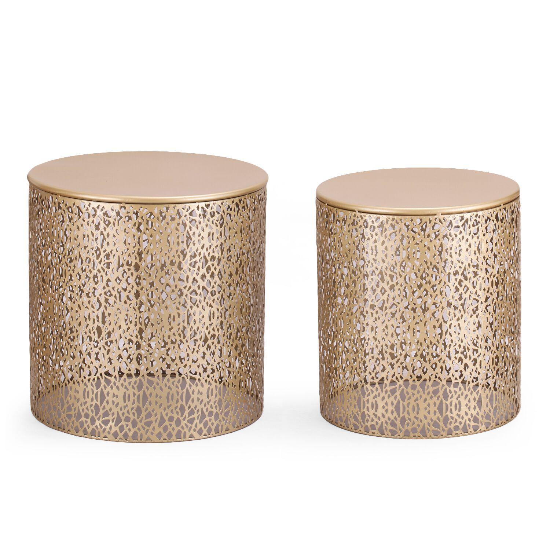 Heenan 2 Piece Coffee Side Table Color: Golden
