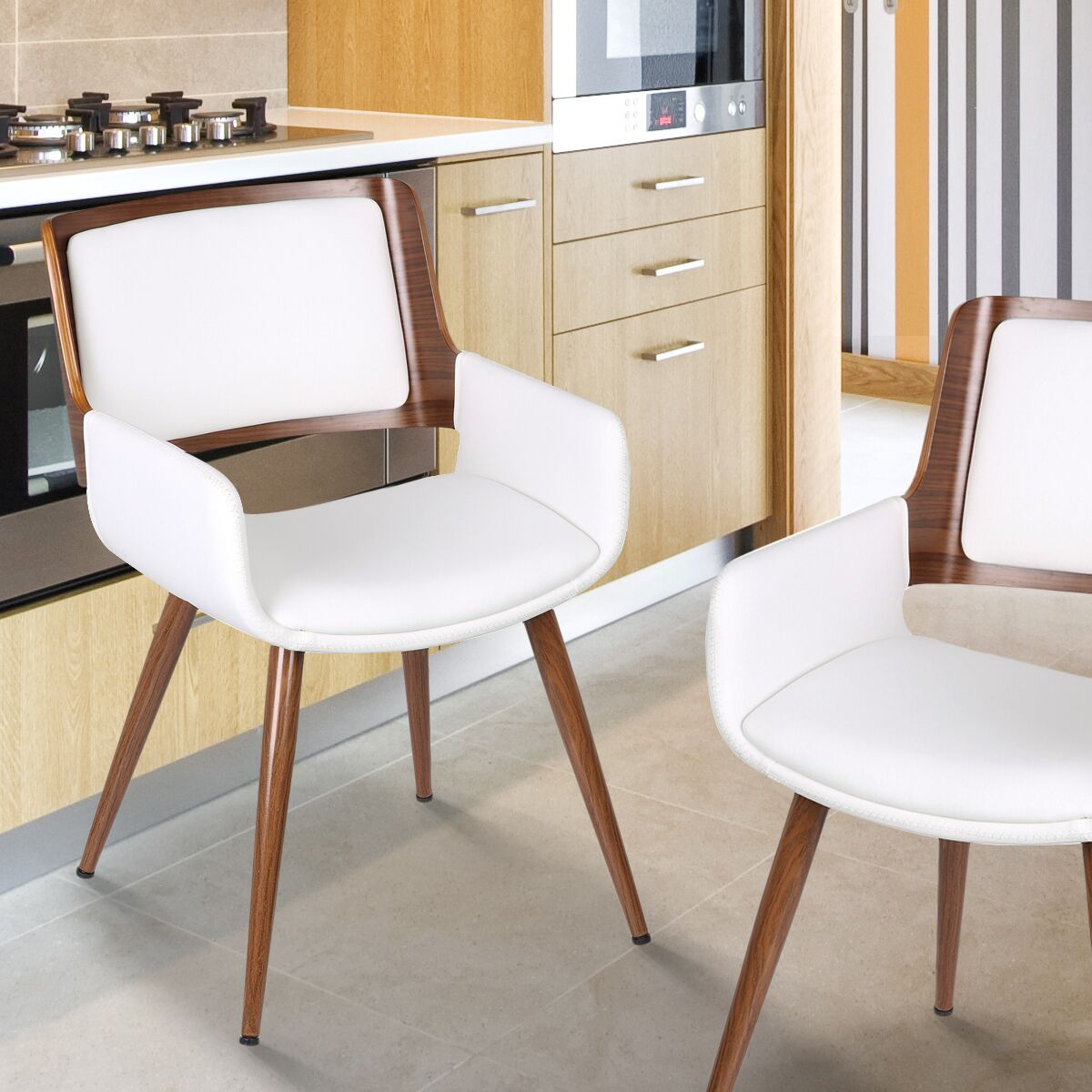 Bentwood Arm Chair Upholstery Color: Matte White