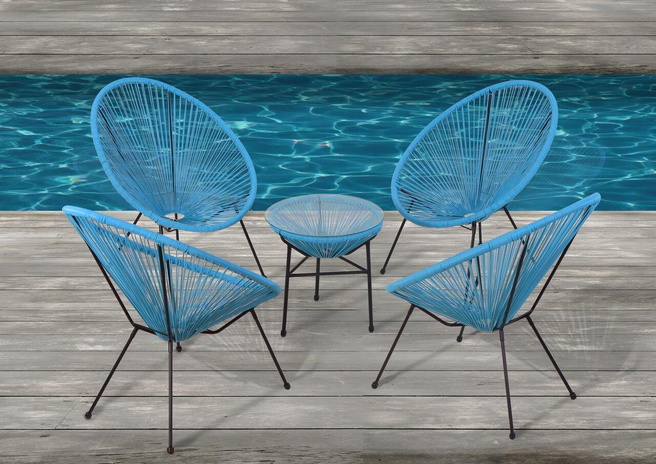 Moises 5 Piece Conversation Set Color: Turquoise