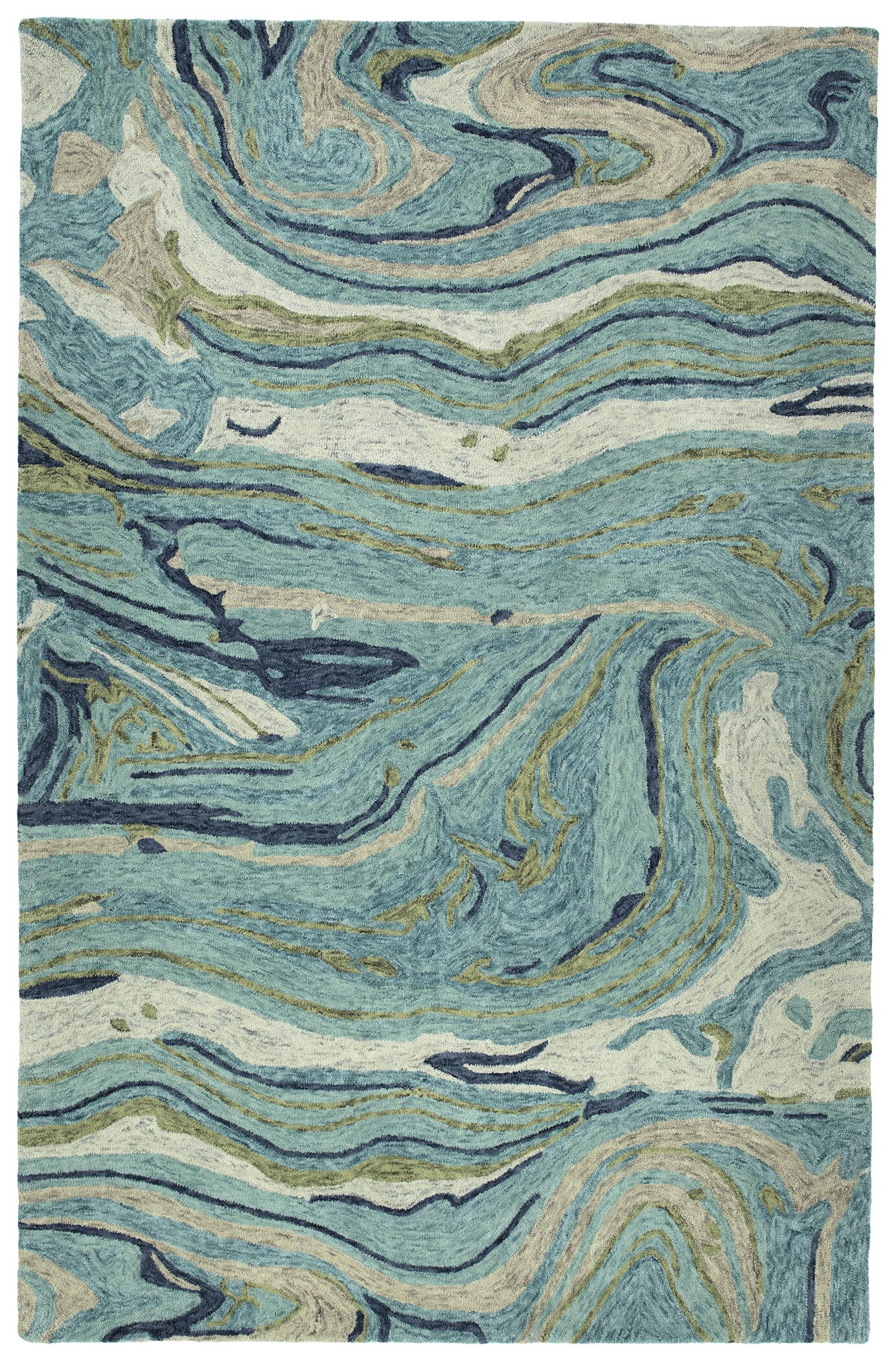 Bargas Hand Tufted Wool Teal Area Rug Rug Size: Rectangle 5' x 7'9