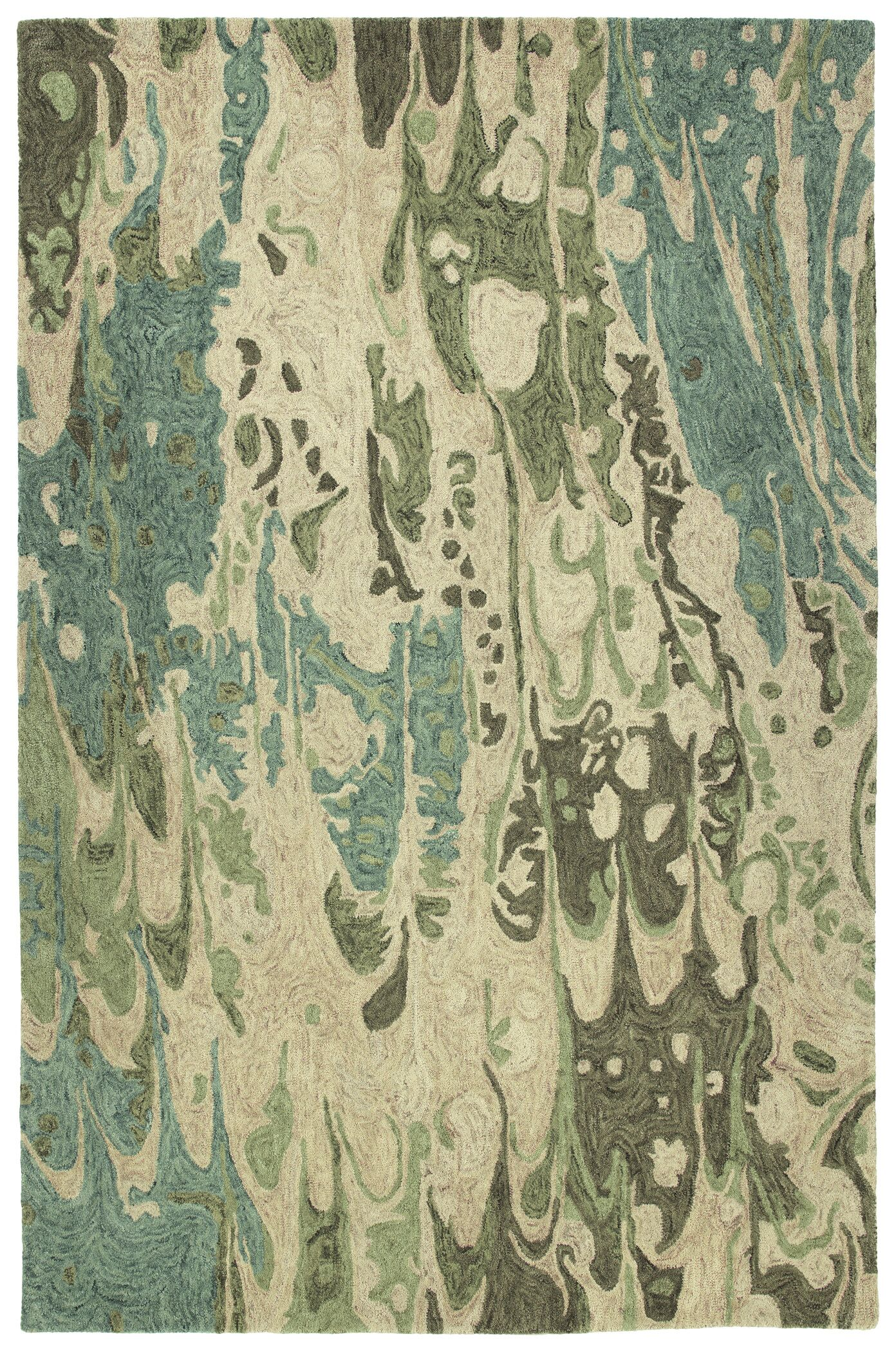 Bargas Hand Tufted Wool Sea Foam/Beige Area Rug Rug Size: Rectangle 5' x 7'9