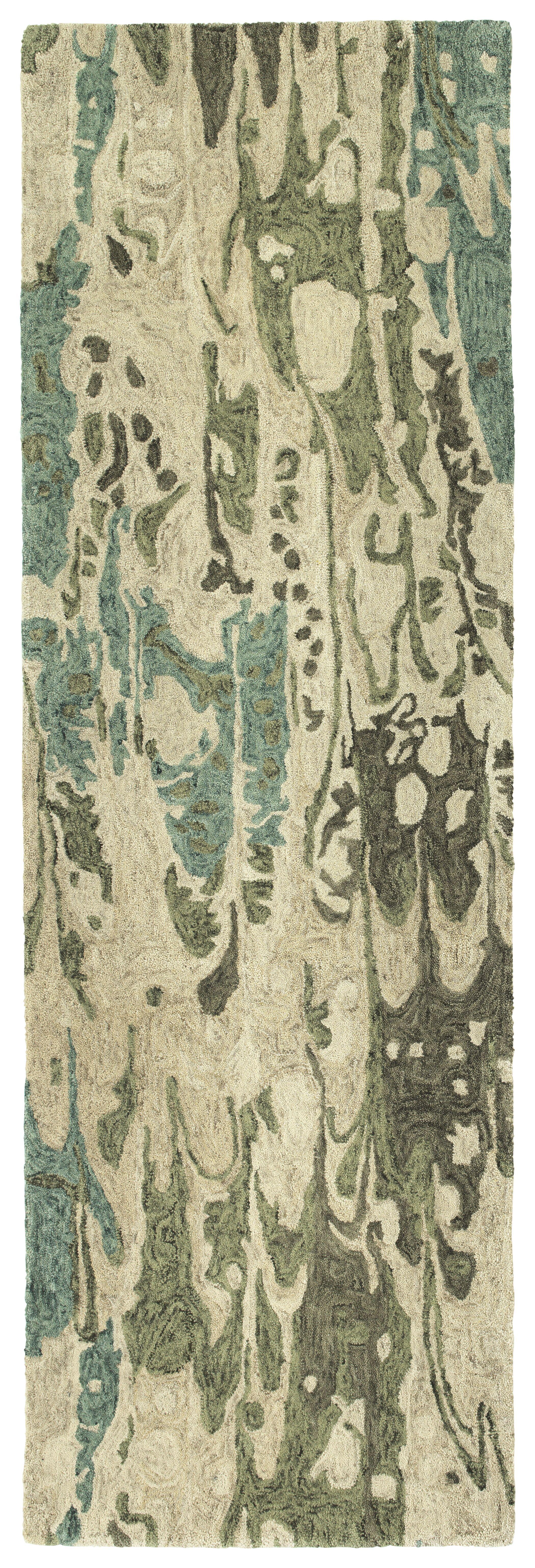 Bargas Hand Tufted Wool Sea Foam/Beige Area Rug Rug Size: Runner 2'6