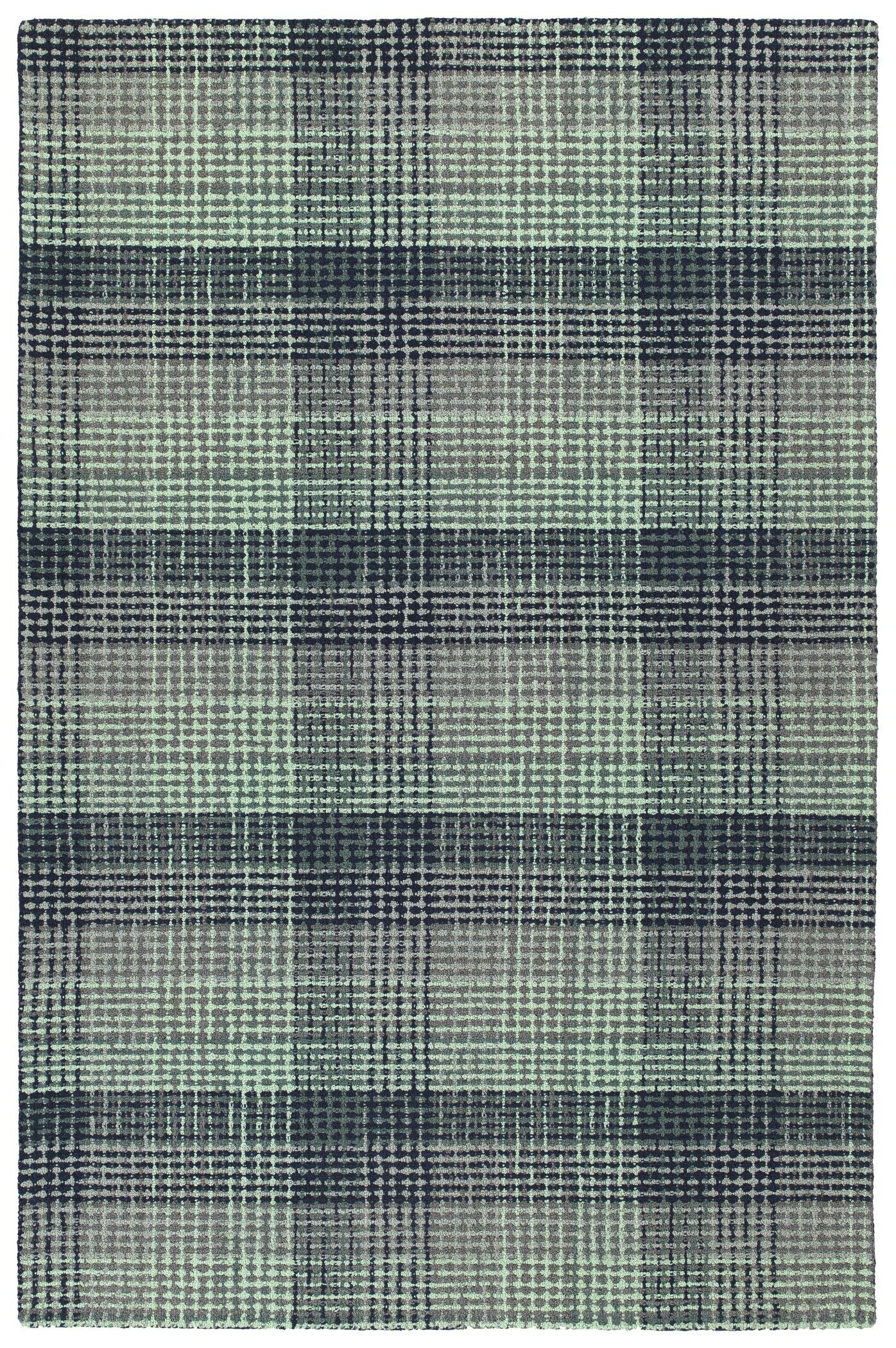 Tahsha Hand Tufted Wool Turquoise Area Rug Rug Size: Rectangle 3'6