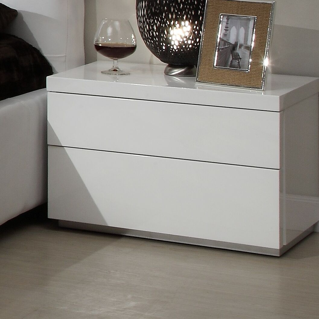 Athens 2 Drawer Nightstand Color: White High Gloss