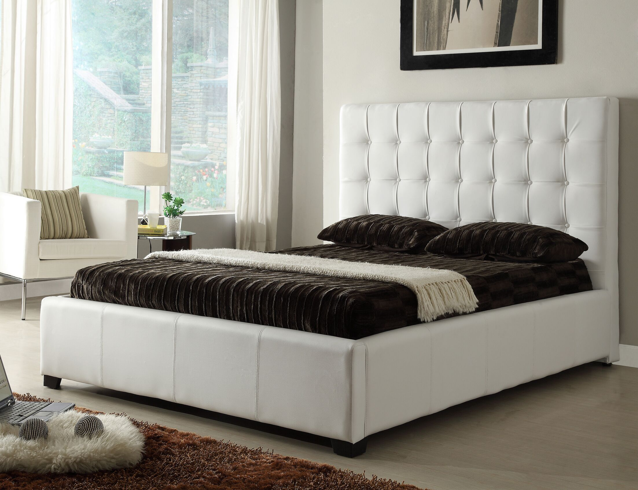Athens Upholstered Storage Platform Bed Size: Queen, Color: White