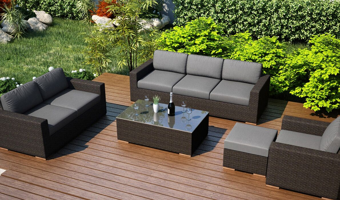 Arden 5 Piece Teak Sofa Seating Group with Sunbrella Cushions Fabric: Canvas Charcoal