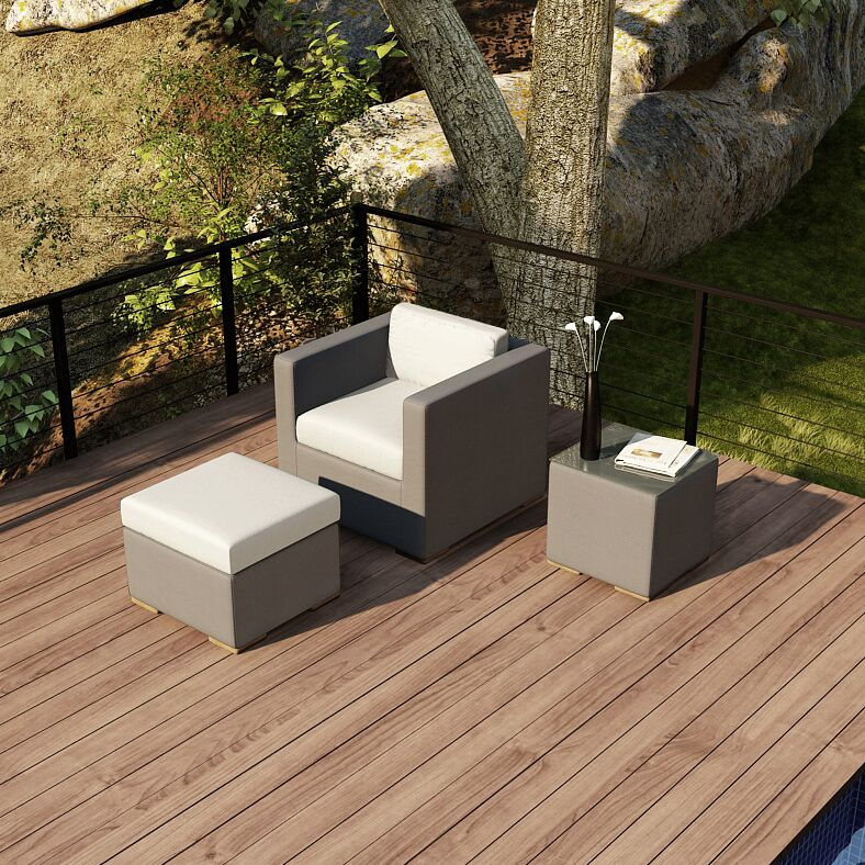 Element 3 Piece Teak Conversation Set with Sunbrella Cushions Fabric: Canvas Natural