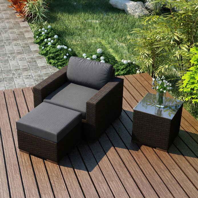 Arden 3 Piece Teak Conversation Set with Sunbrella Cushions Fabric: Canvas Flax