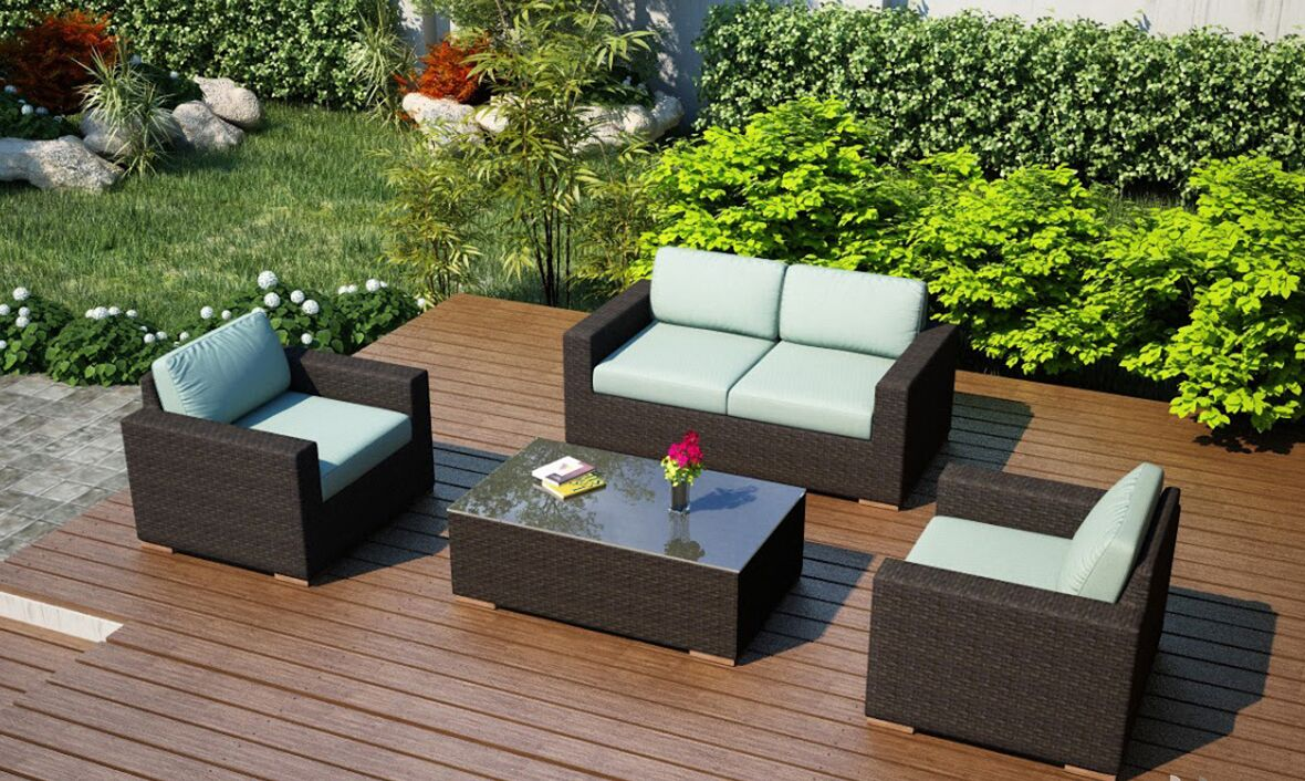 Arden 4 Piece Teak Sofa Set with Sunbrella Cushions Fabric: Canvas Spa