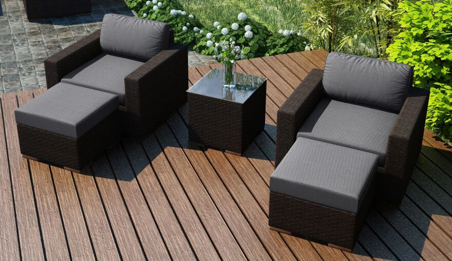 Arden 5 Piece Teak Seating Group with Sunbrella Cushions Fabric: Canvas Charcoal
