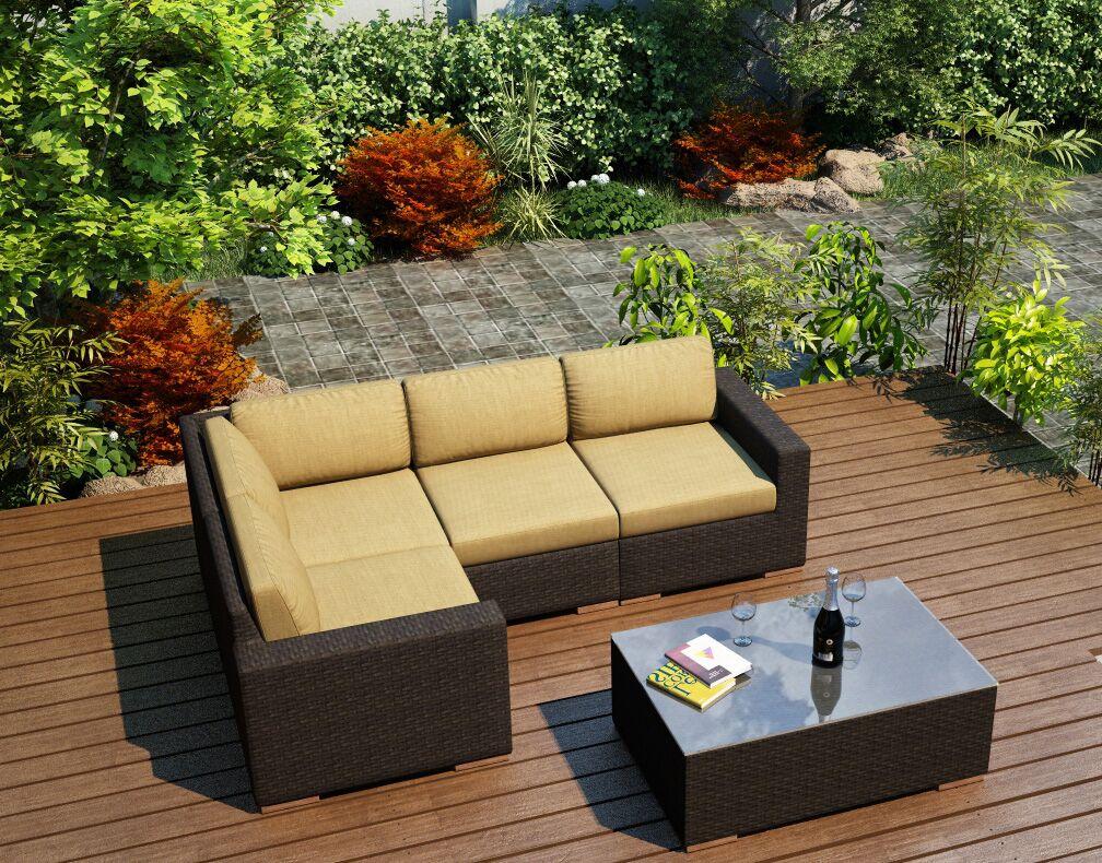 Arden 5 Piece Teak Sectional Set with Sunbrella Cushions Fabric: Heather Beige