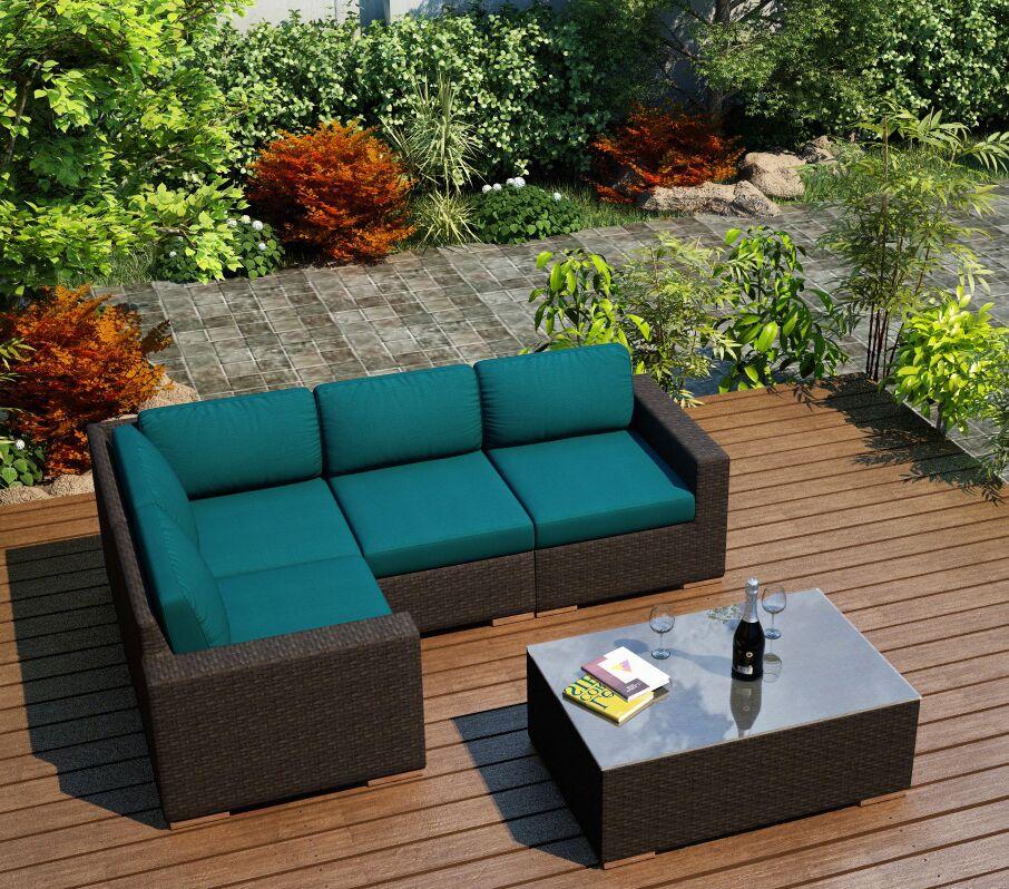 Arden 5 Piece Teak Sectional Set with Sunbrella Cushions Fabric: Spectrum Peacock