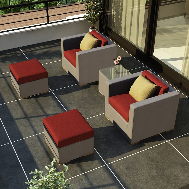 Element 5 Piece Teak Conversation Set with Sunbrella Cushions Fabric: Canvas Henna