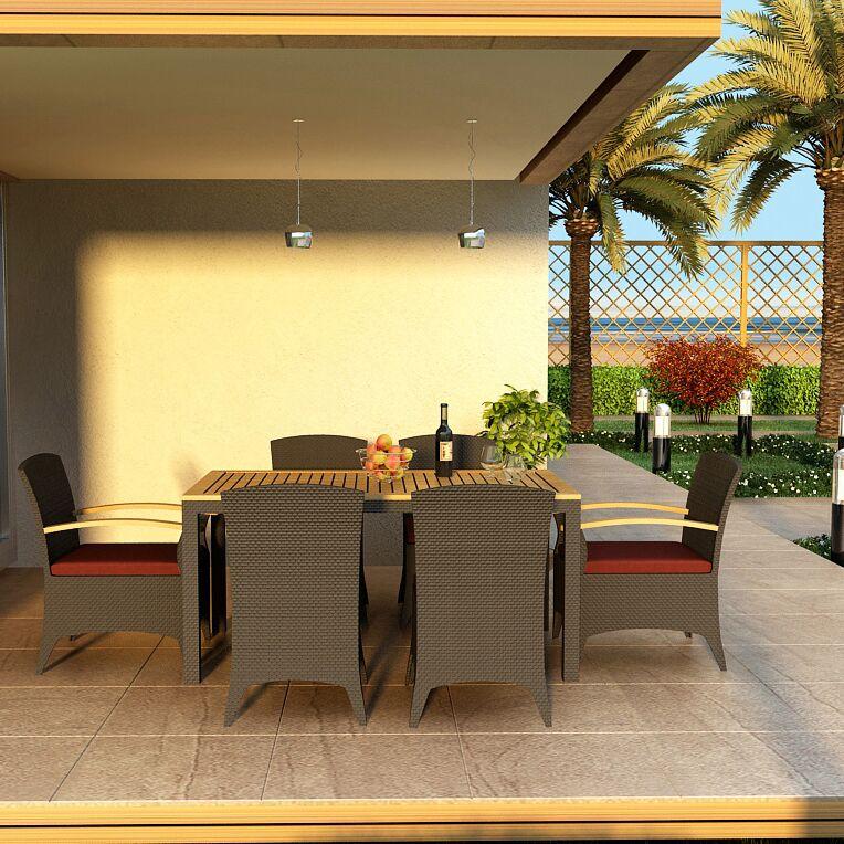Arbor 7 Piece Teak Dining Set with Sunbrella Cushions Color: Canvas Henna