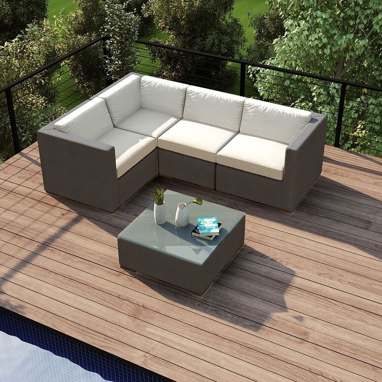 Element 5 Piece Teak Sectional Set with Sunbrella Cushions Fabric: Canvas Natural