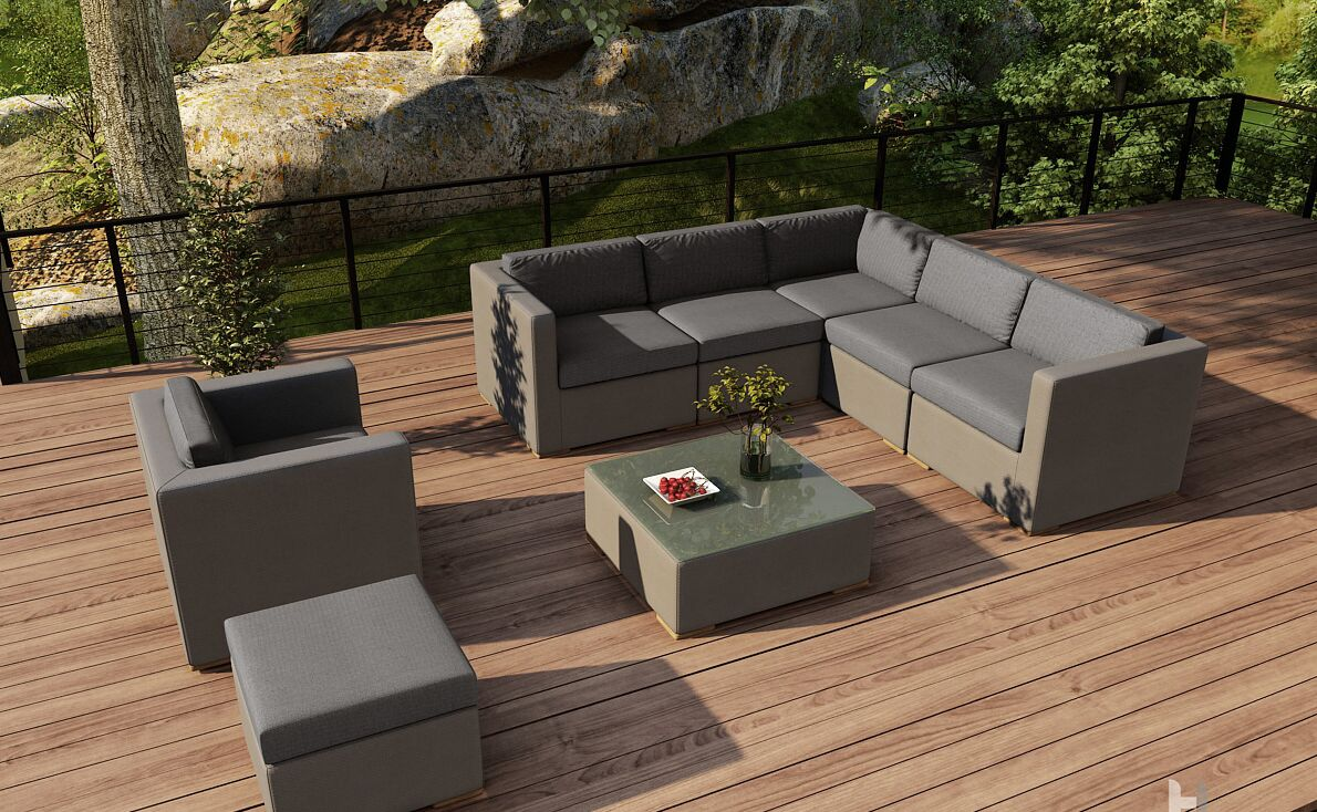 Element 8 Piece Teak Sectional Set with Sunbrella Cushions Fabric: Canvas Charcoal