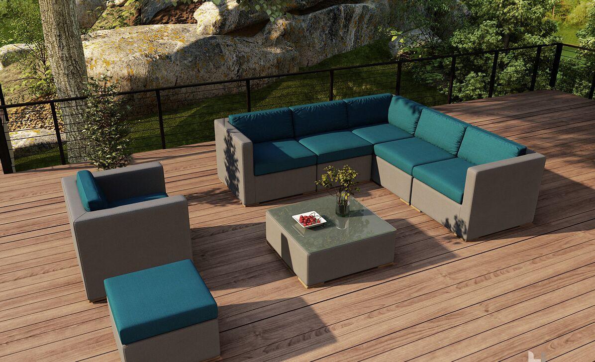 Element 8 Piece Teak Sectional Set with Sunbrella Cushions Fabric: Spectrum Peacock