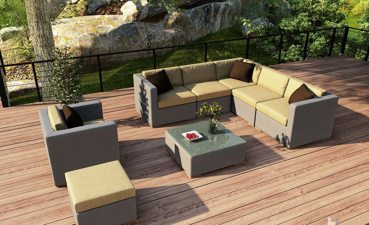 Element 8 Piece Teak Sectional Set with Sunbrella Cushions Fabric: Heather Beige