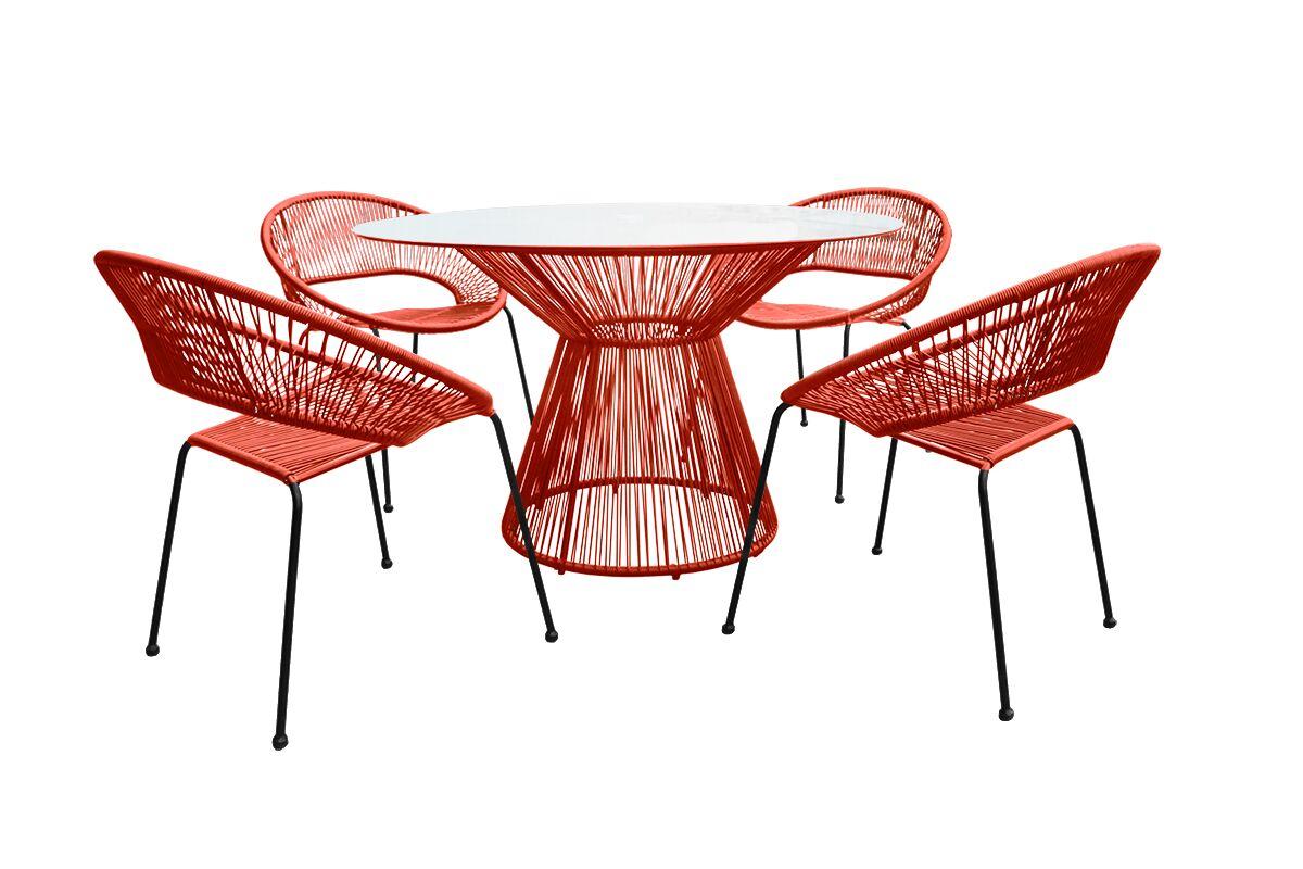 Ehrlich 5 Piece Dining Set Color: Tangerine